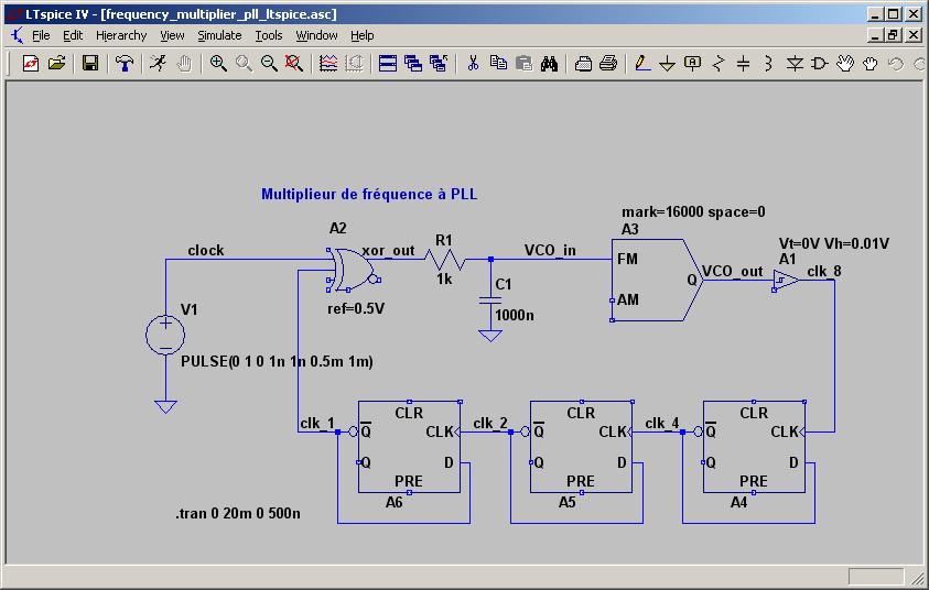 Ltspice iv simulation d 39 un multiplieur de fr quence pll for Base logique